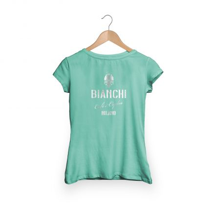 Bianchi Cafe & Cycles - T-Shirt Dama celeste
