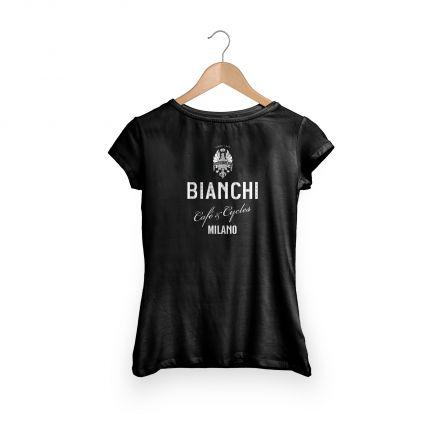 Bianchi Cafe & Cycles - T-Shirt Dama black